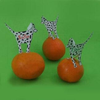 kindertraktatie hond dalmatier met mandarijn