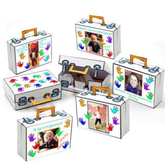 koffer traktatie met foto en zwaaiende handjes
