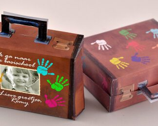 vintage koffertje traktatie met foto laten bedrukken